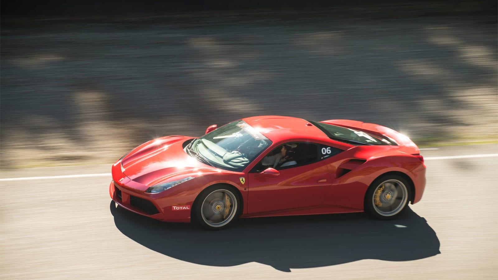 Ferrari 488 GTB on racetrack