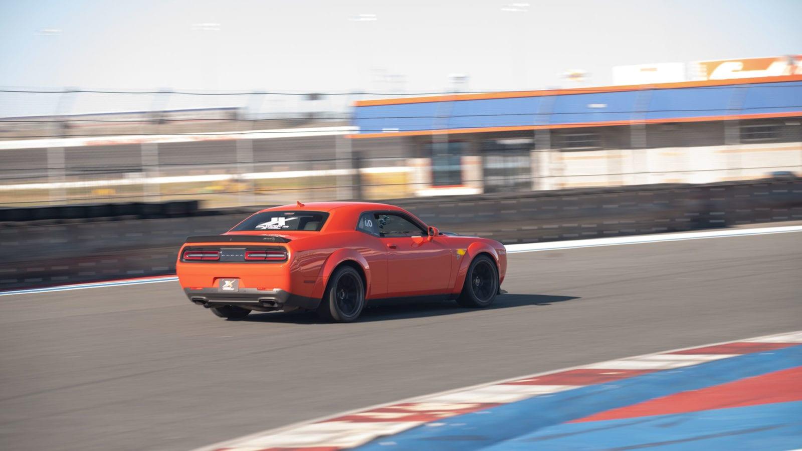 Dodge Hellcat Widebody on a racetrack